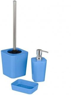 """3 tlg. WENKO Bad Set """" Natural"""" aus Bambus Fasern, blau, inkl. WC-Garnitur"""