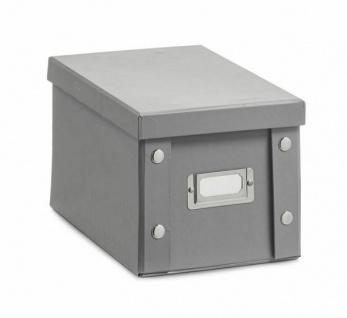 2x Zeller CD Box mit Deckel, grau, für 20 CD's Aufbewahrung Kiste Karton Case