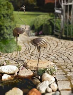 """Metall Fischreiher """" Gebückt"""" Reiher Schreck Garten Fisch Teich Deko Figur"""