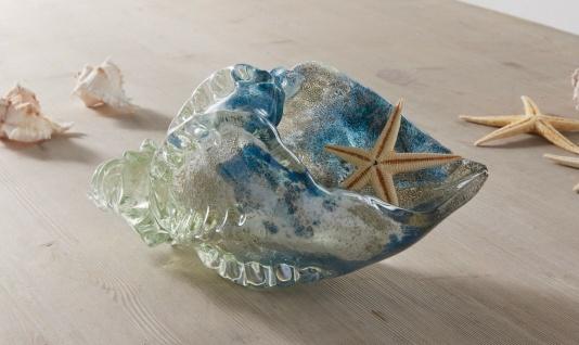 """Glas Muschel """" Ozean"""" mit Glitzer, 21 cm lang, maritim Deko Figur Statue Schale"""