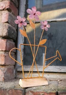 "Metall Deko "" Blumen in Gießkanne"", Rost Design, Holz-Sockel, Figur Skulptur"