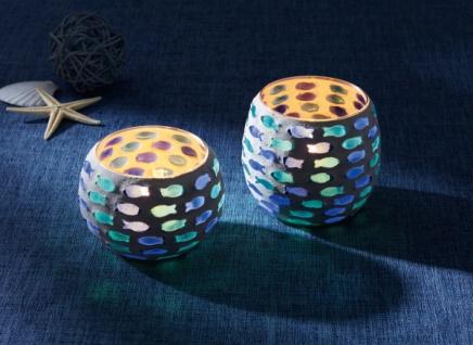 2er Set Windlicht 'Fischschwarm Glas Kerzen Ständer Teelicht Halter Laterne Deko