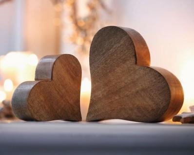 2 Herzen aus Mango Holz, Tisch Deko Figur Herz Skulptur Objekt Set - Vorschau 1