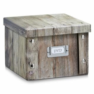 """2x Zeller Aufbewahrung Box mit Deckel """" Wood"""" Holz Motiv, für 26 DVD Kiste Karton"""