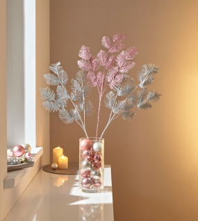 3 Deko Zweige silber + rose, 85 cm hoch, Kunst Blätter Zier Ast künstliche Äste