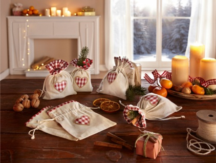6er Geschenk Beutel 'Landhaus? Karo Textil Tasche Weihnachten Weichnachtsbeutel