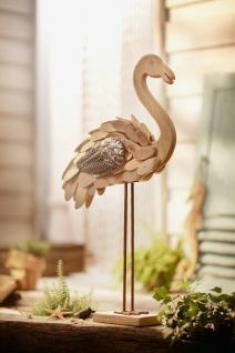 """Figur ?Wasservogel"""" aus Holz & Metall Deko Vogel Flamingo Tisch Objekt Skulptur"""
