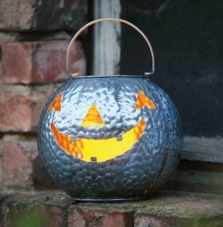 "Metall Kürbis "" Scary"" mit LED-Kerze, Halloween Grusel Pumpkin Deko Windlicht"