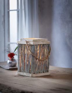 Windlicht 'Zweige? aus Glas & Weide & Holz Kerzen Ständer Teelicht Halter