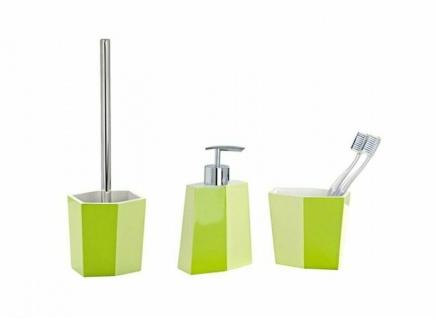 3tlg. WENKO Bad Set BiColor grün WC Garnitur Seifenspender Zahnputzbecher