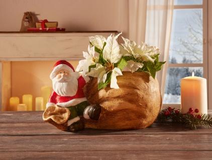 """Blumen Topf """" Weihnachtsmann mit Geschenksack"""", Pflanzer Pflanz Kübel Über Schale"""