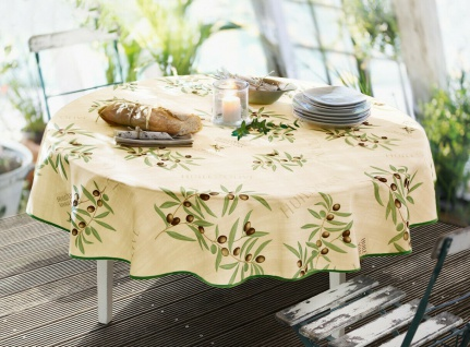"""Tischdecke """" Olive"""", rund Ø 160 cm, creme, abwaschbar, Lotur Effekt, Tisch Tuch"""
