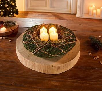 Kranz aus Moos & Reisig, grün, Ø 30 cm, Wand Tisch Tür Deko Kranz Schmuck