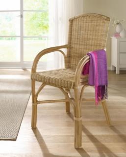 Rattanstuhl, natur lackiert, Senioren Stuhl, Sitzhöhe 49 cm, Korb Rattan Sessel