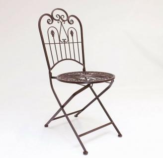 """Metall Klappstuhl """" Provence"""" im Antik Design Nostalgie Eisen Garten Balkon Stuhl - Vorschau 3"""