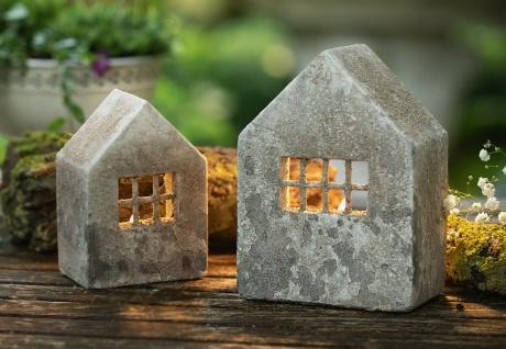 """2er Set Windlicht """" Haus"""" Beton, 15 & 19 cm klein, Deko Teelicht Halter rustikal"""