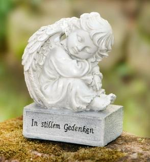 """Engel Figur """" In stillem Gedenken"""" weiß grau, Grab Schmuck Dekoration Deko Statue"""