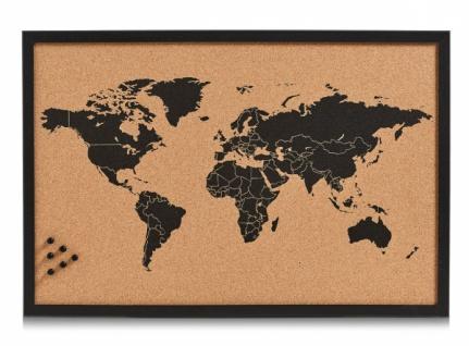 "PINNWAND "" World"" aus Kork 60x40 WELTKARTE MEMO PIN BOARD NOTIZ SCHREIB TAFEL"