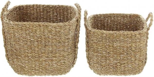 2x Aufbewahrungs Korb aus Seegras mit Griffen, Wäsche Spielzeug Kamin Holz Körbe - Vorschau 3
