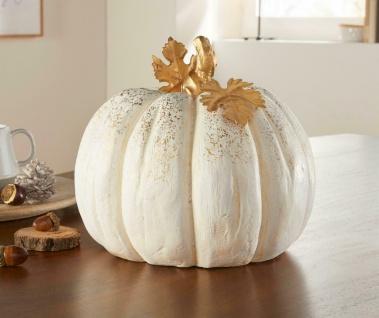 """Deko Kürbis """" White"""" weiß + gold, Herbst Halloween Dekoration Figur"""