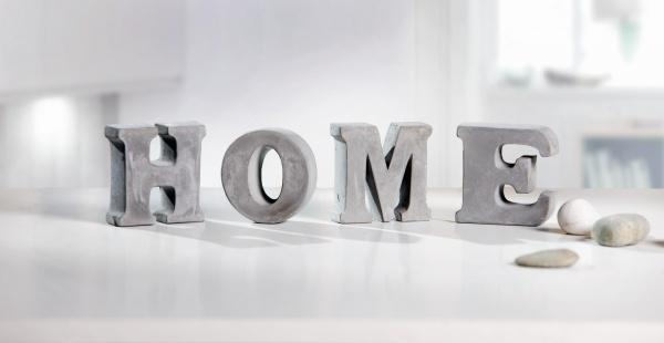 4tlg Deko Schriftzug Home Used Look Buchstaben Tisch Objekt Figur