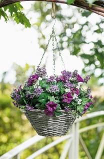 """Blumen Ampel """" Petunia"""" mit Kunststoff Pflanzen Ø 35 cm, Hänge Topf Weiden Korb"""