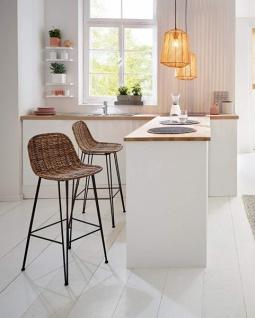 "Bar Stuhl "" Modern Line"" aus Rattan, Sitz Höhe 67cm, Korb Küchen Tresen Hocker"