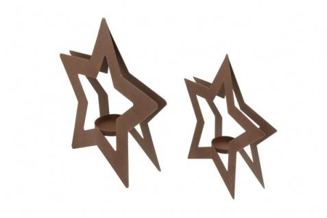 2er Teelicht Halter 'Sternchen? Metall Kerzen Ständer Windlicht Weihnachten - Vorschau 3
