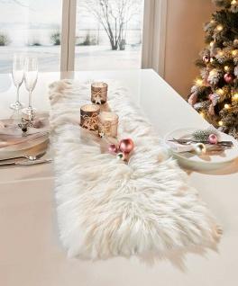 Tisch Läufer aus Kunst Fell, creme / weiß, 30x120, Band Wäsche Tuch Mittel Decke