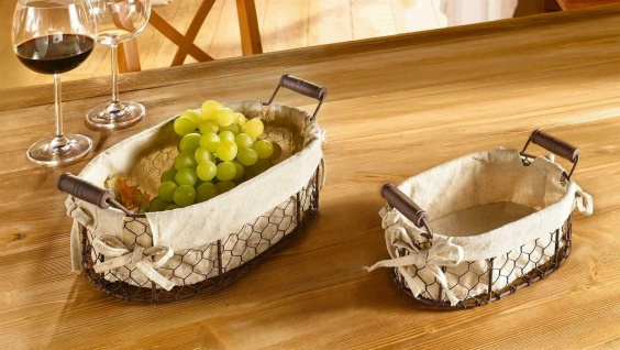 2 Draht Körbe in Rost Optik & Textil Einlage, Landhaus Metall Brot Obst Bad Korb