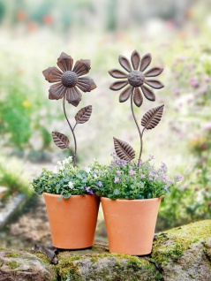 2er Set Blumen Stecker aus Metall in Rost Optik, Antik Look, Garten Beet Sticker