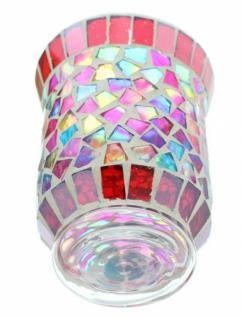 """Windlicht """" Regenbogen-mosaik"""" Glas Kerzenhalter Tischdeko Teelicht Mosaiksteine - Vorschau 2"""