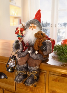 Weihnachtsmann Deko Figur sitzend, Kantenhocker, aus Textil, Weihnachten X-MAS