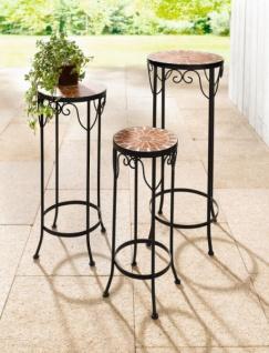 3er Set Blumen Tische MOSAIK Metall schwarz Beistell Satz Pflanzen Tisch Hocker