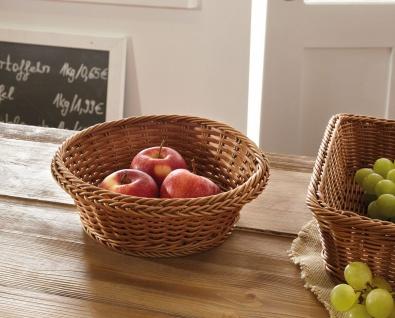 Obst Schale aus Poly Rattan, braun, Ø 27 cm, Brot Brötchen Buffet Servier Korb
