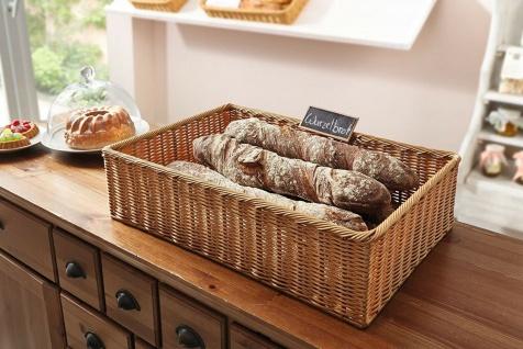 Auslagekorb aus Poly-Rattan 60x40 cm, Regal Obst Brot Servier Buffet Flecht Korb