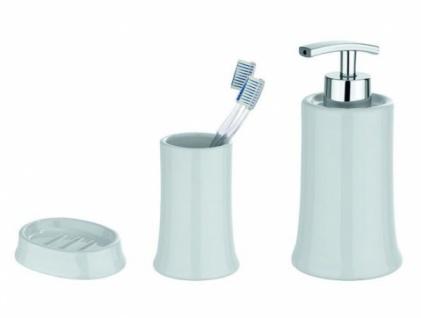3tlg. Wenko Bad Set Slope Keramik Weiß Seifenspender Zahnputzbecher Seifenschale - Vorschau 1