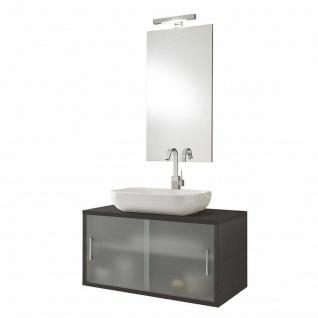 """ital. Design Waschbecken Unterschrank """" Giava"""" wenge + sat. Glas + Spiegel + LED"""