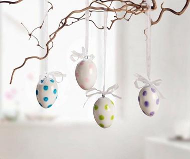 4 Porzellan Eier, Chiffon Schleife zum Hängen, weiß, Baum Schmuck Deko Oster Ei