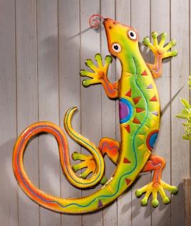 """Wand Deko """" Gecko"""" aus Metall 54x66 cm Wand Bild Schmuck Tier Hänger bunt modern"""