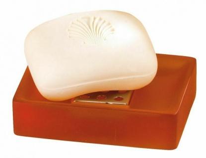 WENKO Design Seifenschale SORANO orange gefrostet aus Kunststein Seifenablage