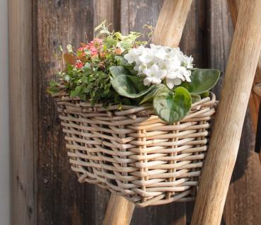 """Balkon Pflanzkasten """" Klein"""" aus Rattan, mit Halterung, Blumen Pflanz Korb Kasten"""