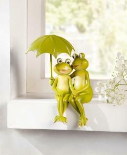 Frosch Paar mit Schirm, Maritime Deko Figur 12x9x18 cm Liebespaar Kanten Hocker
