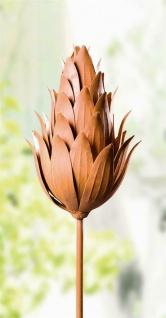 """Metall Garten Stecker """" Artischocke"""" 102 cm hoch, Deko Blumen Sticker, Rost Optik"""