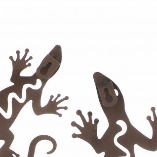 2er Set Deko Gecko, Metall, Rost Optik, Salamander Eidechse Wand Hänger Figur - Vorschau 4