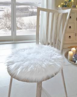 Stuhl Fell sitz kissen felloptik in weiss ø 40 cm polster stuhl auflage fell