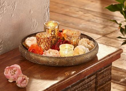 Metall Tablett ?Orient Deko Kerzen Halter Teelicht Board Teller Tisch Asia-Look