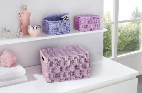 3er FÜLLKORB 'Soft Purple' TRUHE KISTE OBST KORB AUFBEWAHRUNG ERNTE KORB BOX