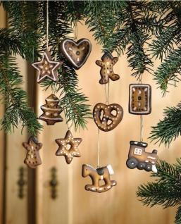 10er Set Terracotta Lebkuchen als Weihnachts Baum Deko Christbaum Schmuck Hänger
