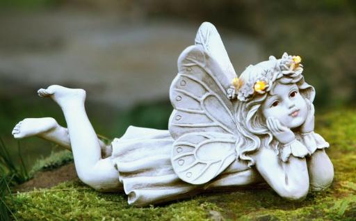 """LED Fee Figur """" Blüten Kranz"""", 13 cm hoch, Retro Engel, Vintage Leucht Deko Antik"""